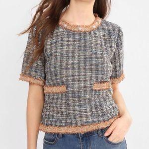 Tops - Tweed Pearl Short Sleeve Shirt